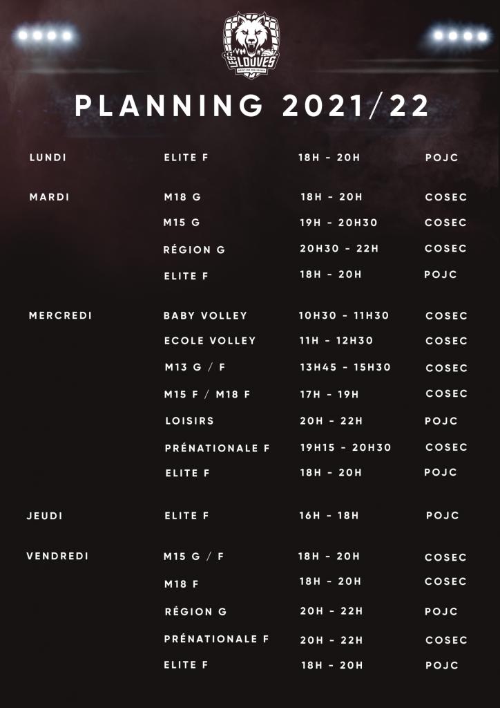 Planning saison 2021-2022